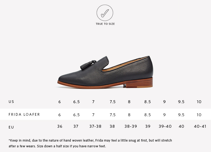 Nisolo Frida Loafer Sizing Guide