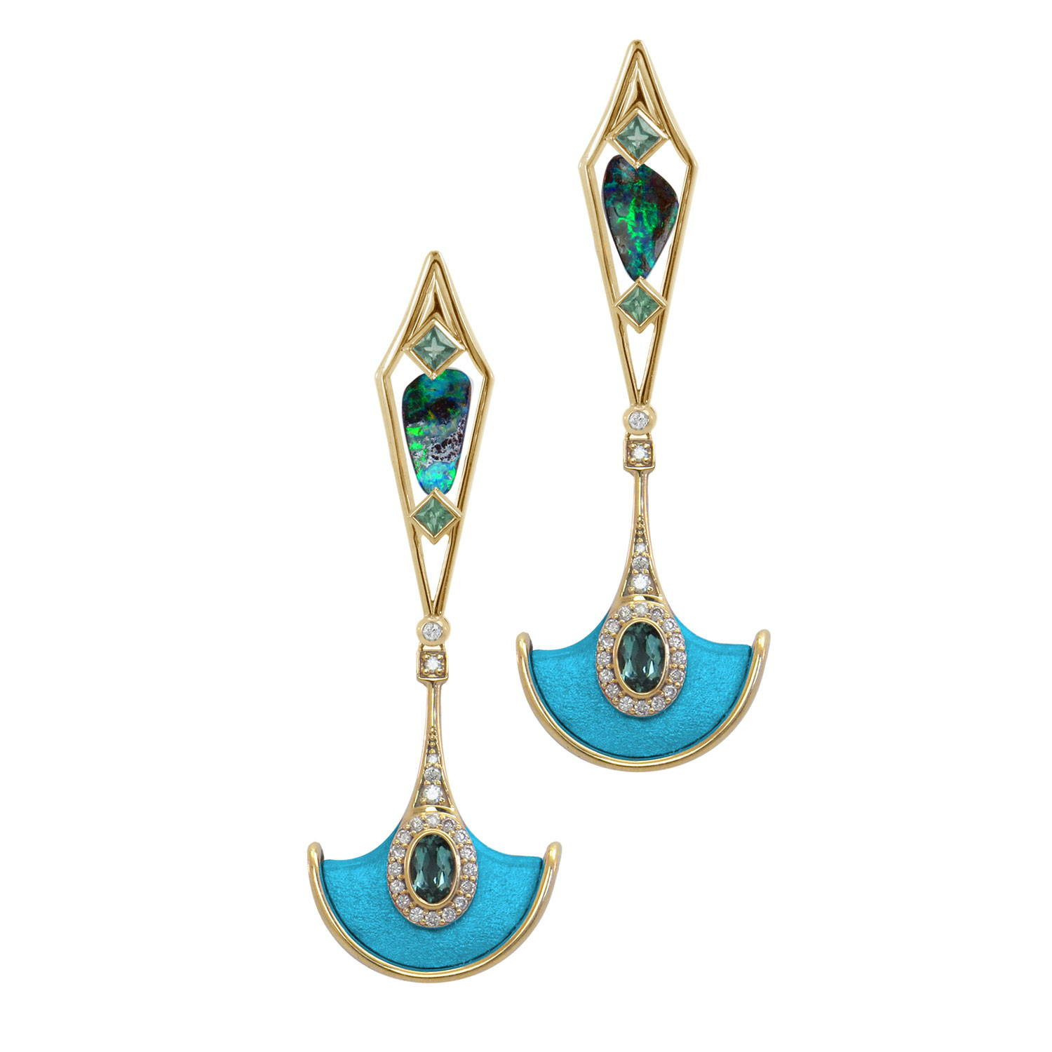 Blue and Turquoise Statement earrings with the Gemstone Boulder Opal, diamonds and sage-coloured tourmaline. By K8 Jewelry Concepts Bijoux made in Montreal.