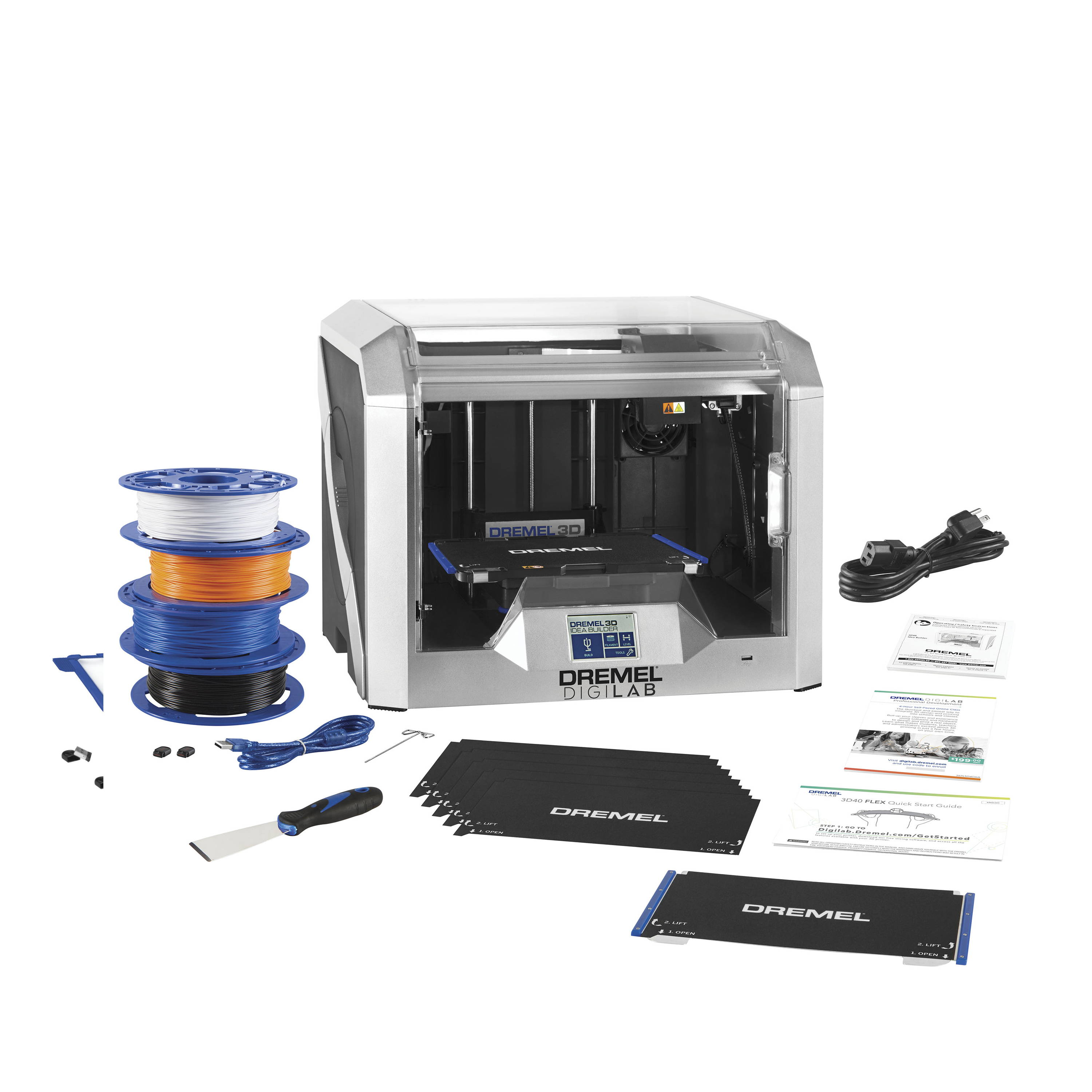 Image of 3D40-FLX-EDU 3D printer bundle with all included contents