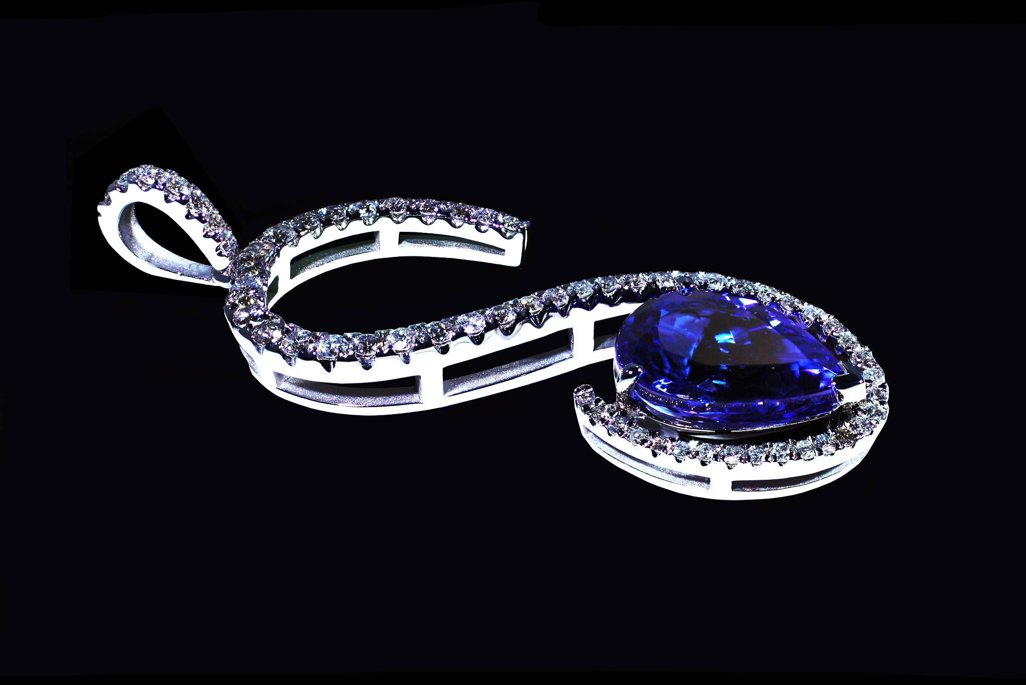 """S"" Shape Tanzanite Pendant top view"
