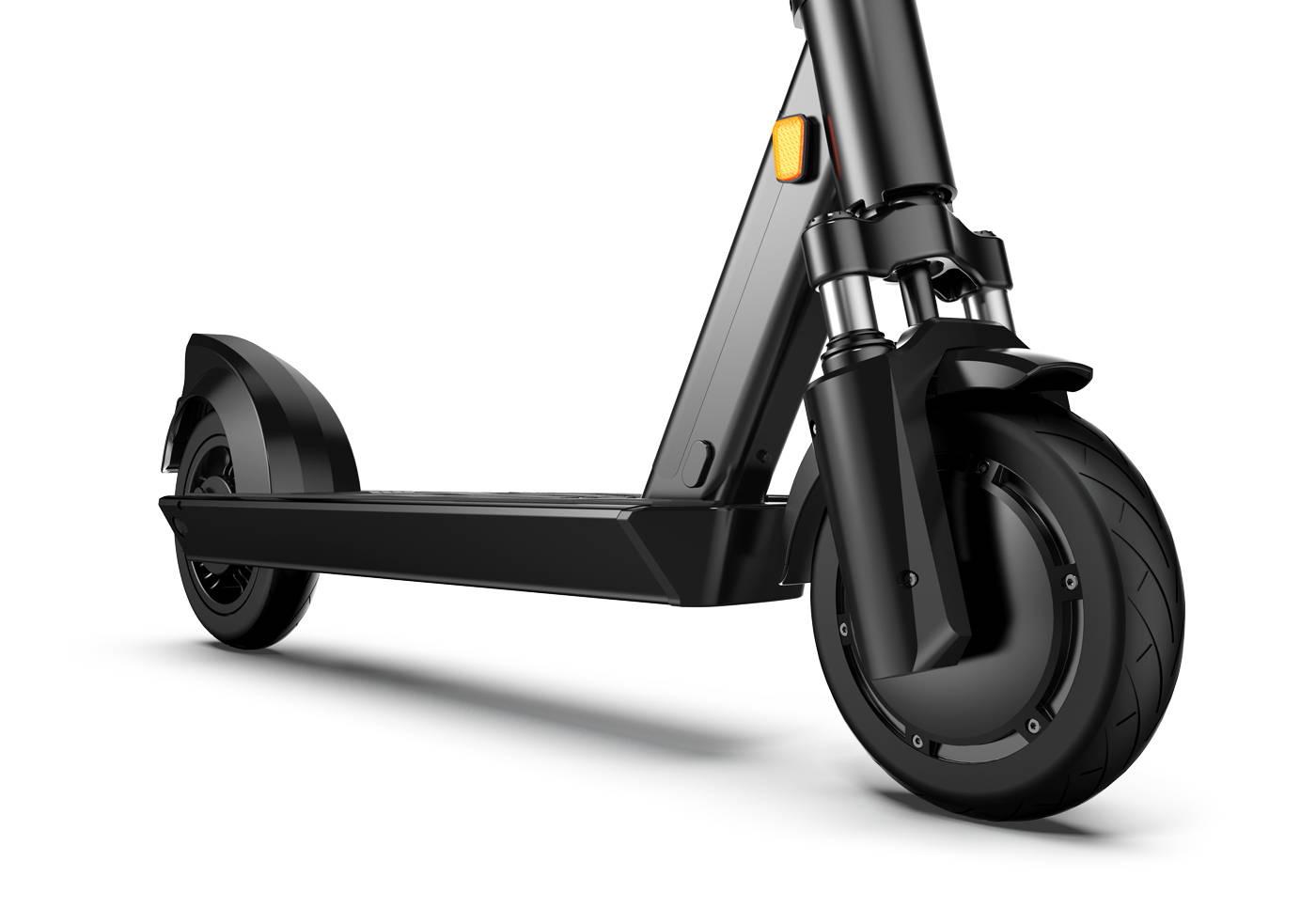 okai-ES200D-electric-scooter-front-wheel-motor-suspension