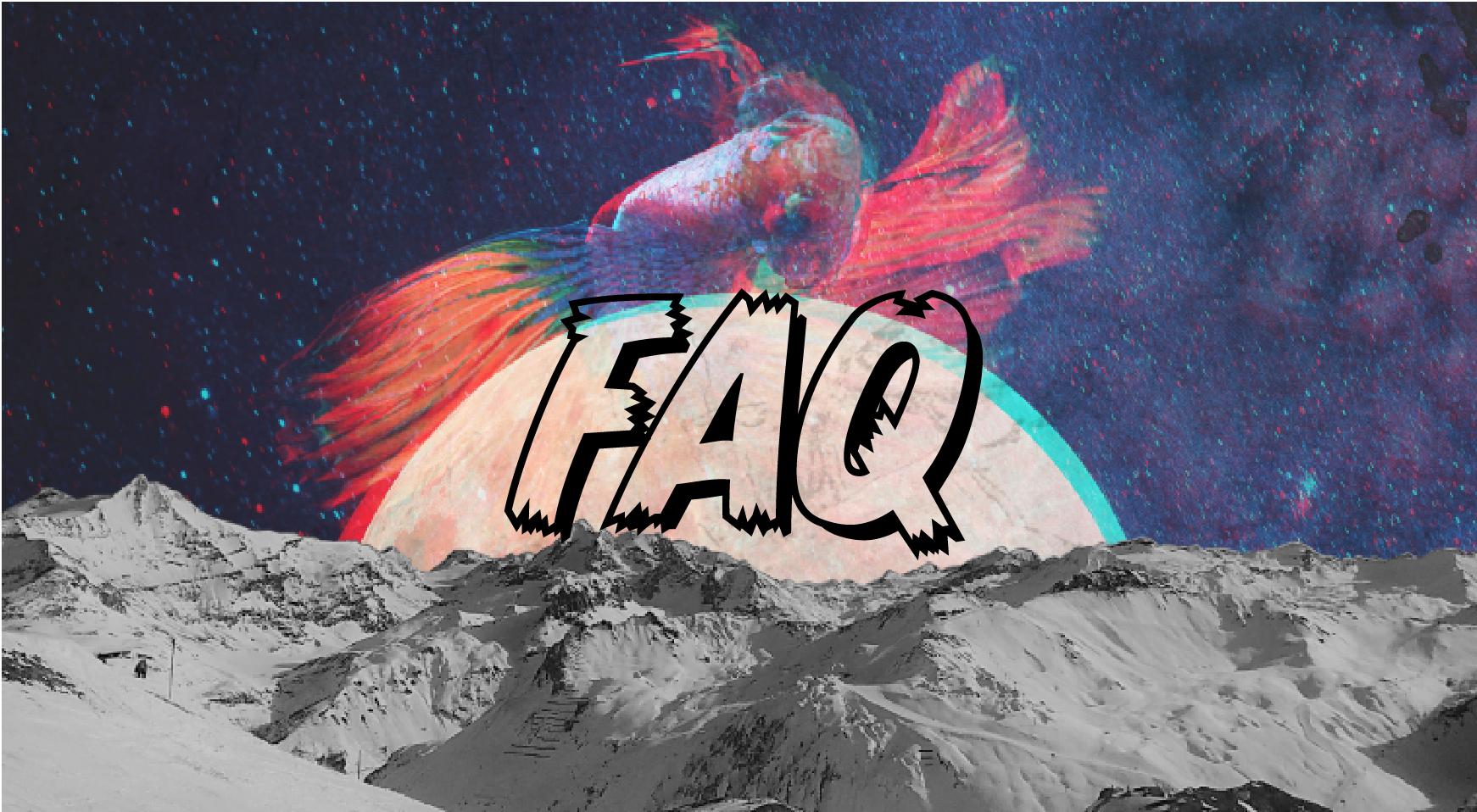 Page d'accueilde la Foire aux questions il y a une photo de montagne baignant au fond d'un océan coloré.