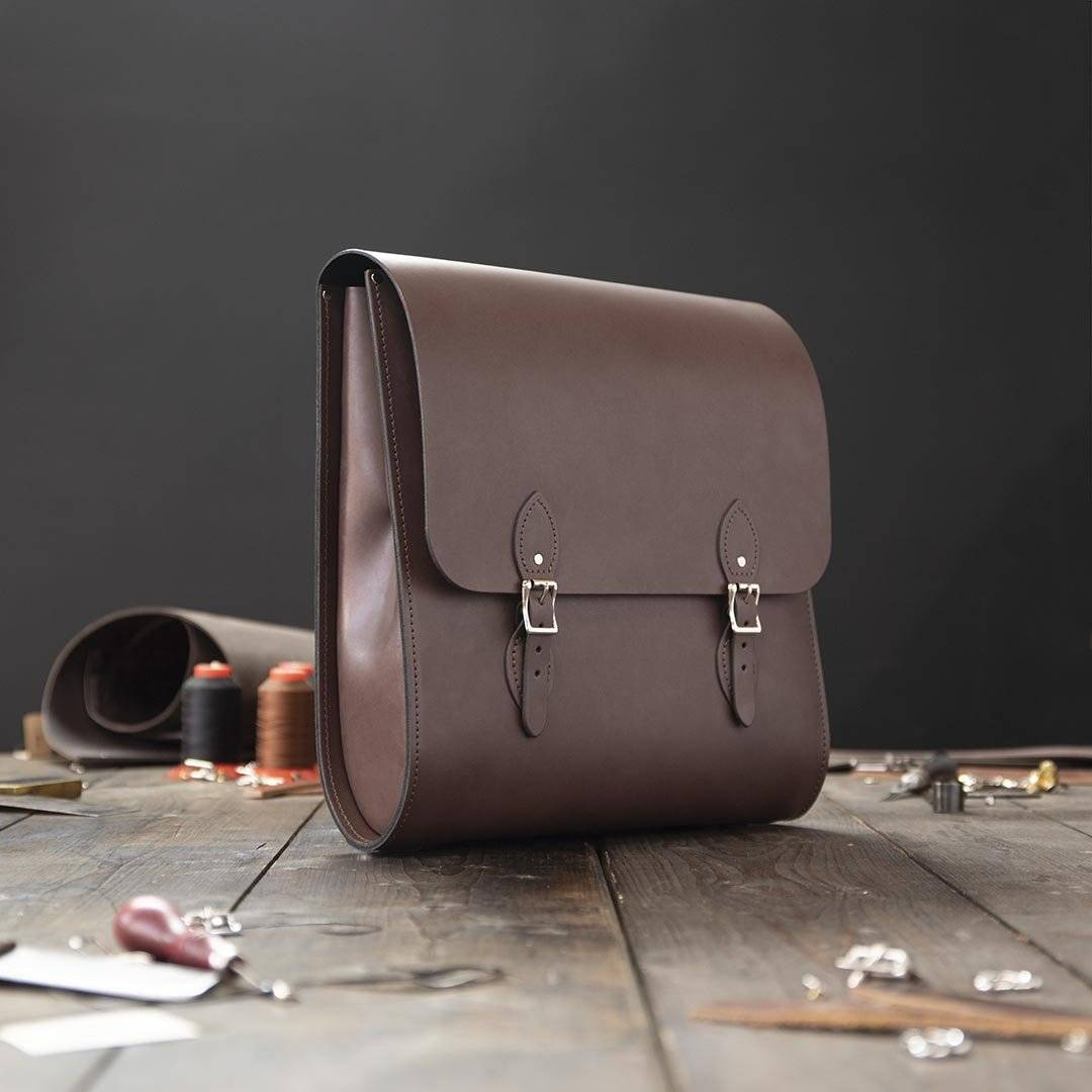 Brown Broad Leather Backpack