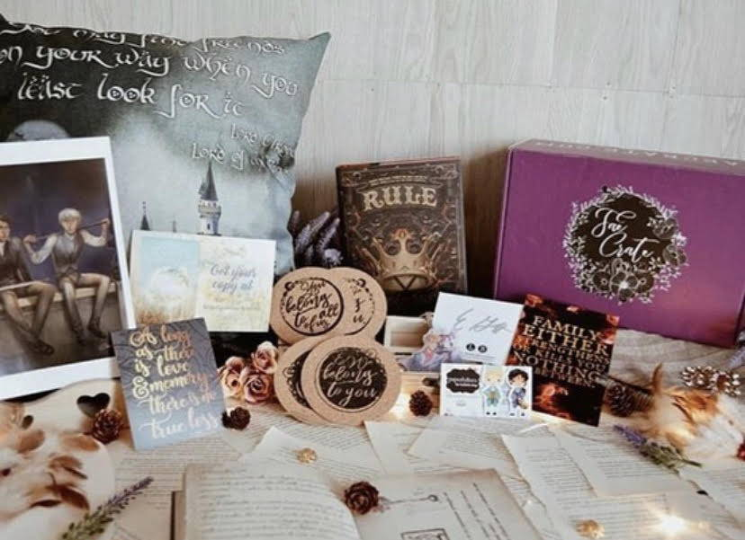 September 2018 Family You Choose box theme included LOTR Pillowcase, Carry On Keychain, Gentleman's Guide Magnetic Bookmarks, Coaster Set of 4, Infernal Devices Magnet, Jem and Will Art Print, Rule by Ellen Goodlett, E-Book Download of Song of Summer Lost by Sarah Negovetich, Lifelike Shirt included in Seelie and Solitary Fae boxes only.