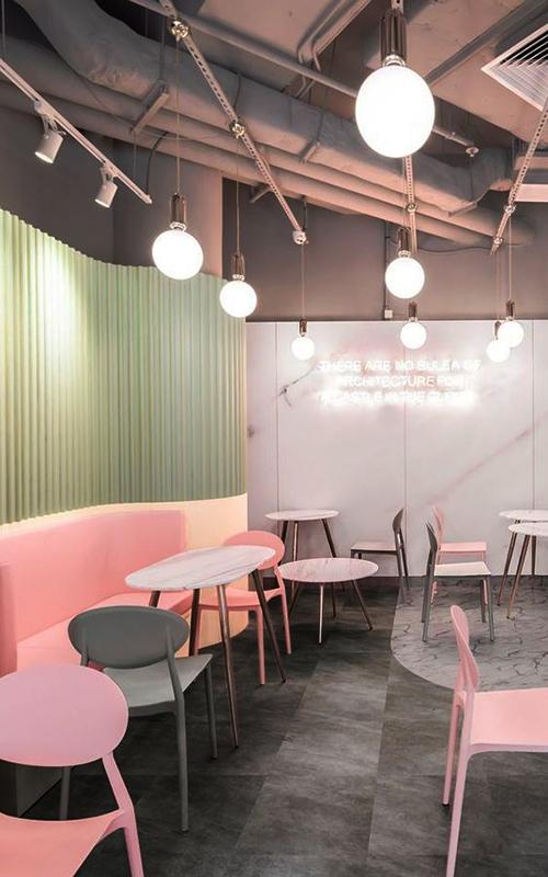 Pastel café interior design