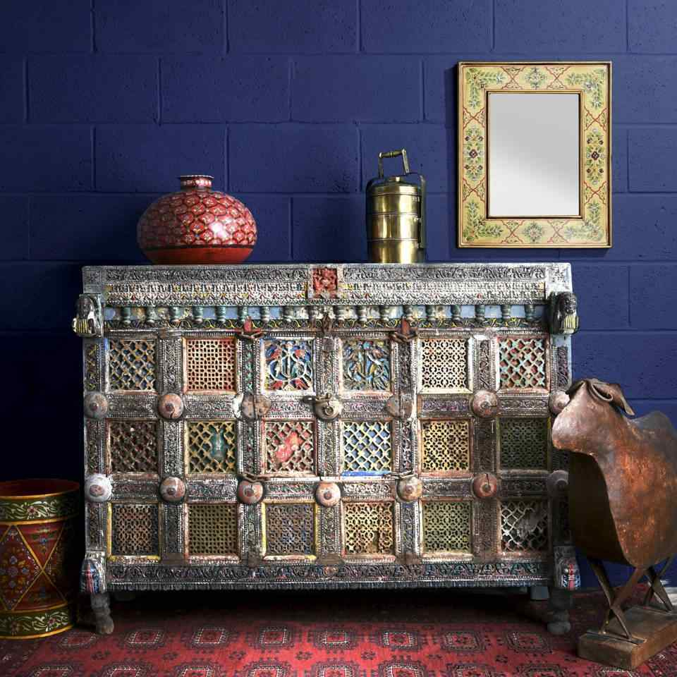 Shop Antique Indian Furniture, Sideboards, Cabinets - Indian Damchiya Painted Dowry Chest | Indigo Antiques