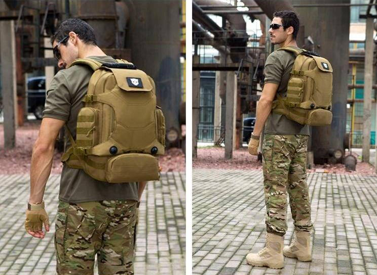 man wearing BI-24 tactical backpack standing from behind