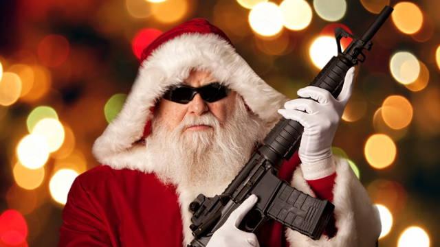 Weird Christmas Traditions Machine Gun Santa