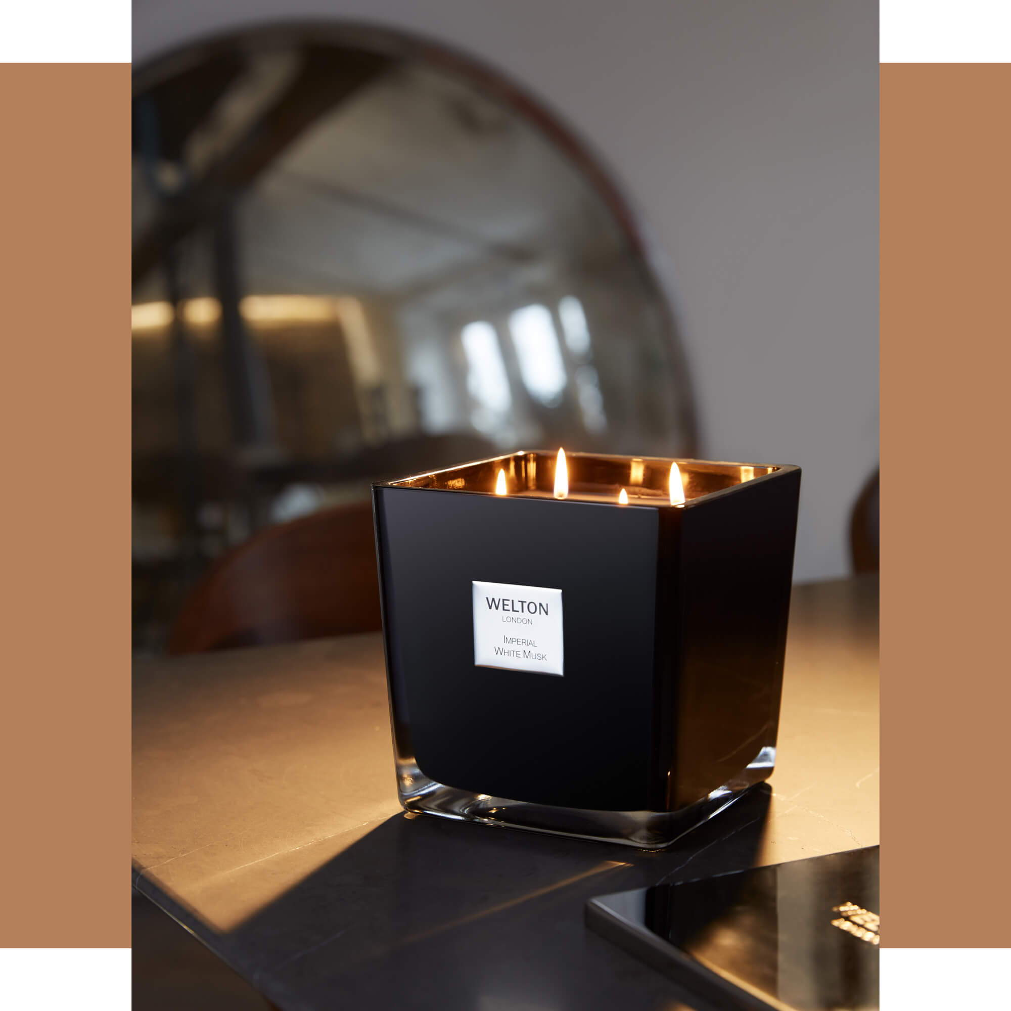 onyx collection luxury scented candle urban contemporary cubic shape design imperial white musk scent high quality