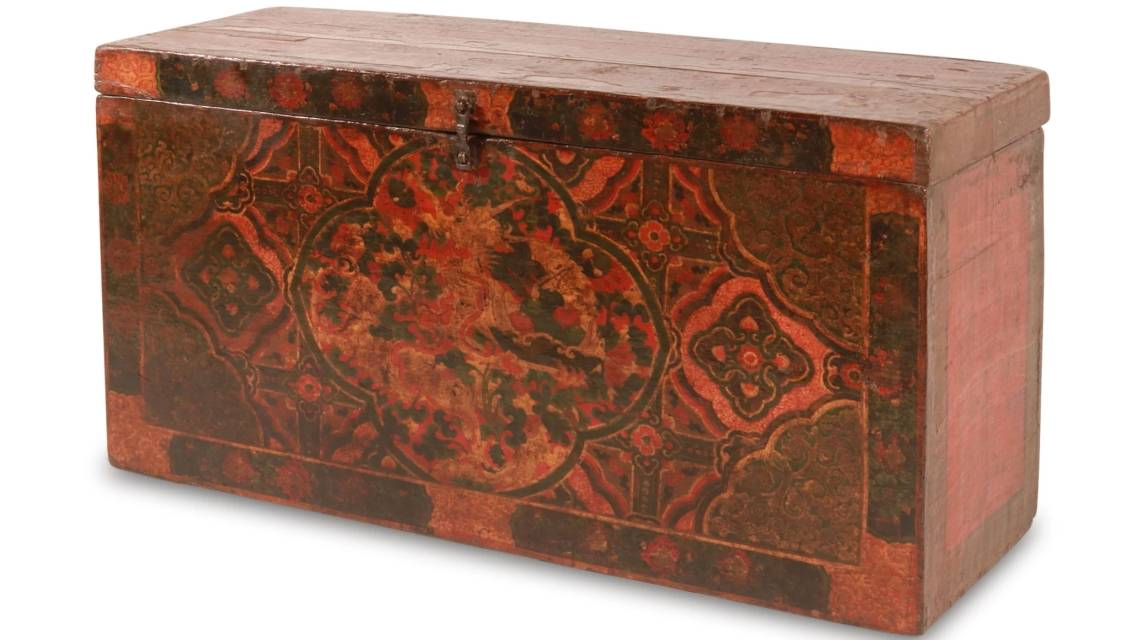 Shop all oriental chests. This piece is a rare antique painted Tibetan chest dating from the 19th century.