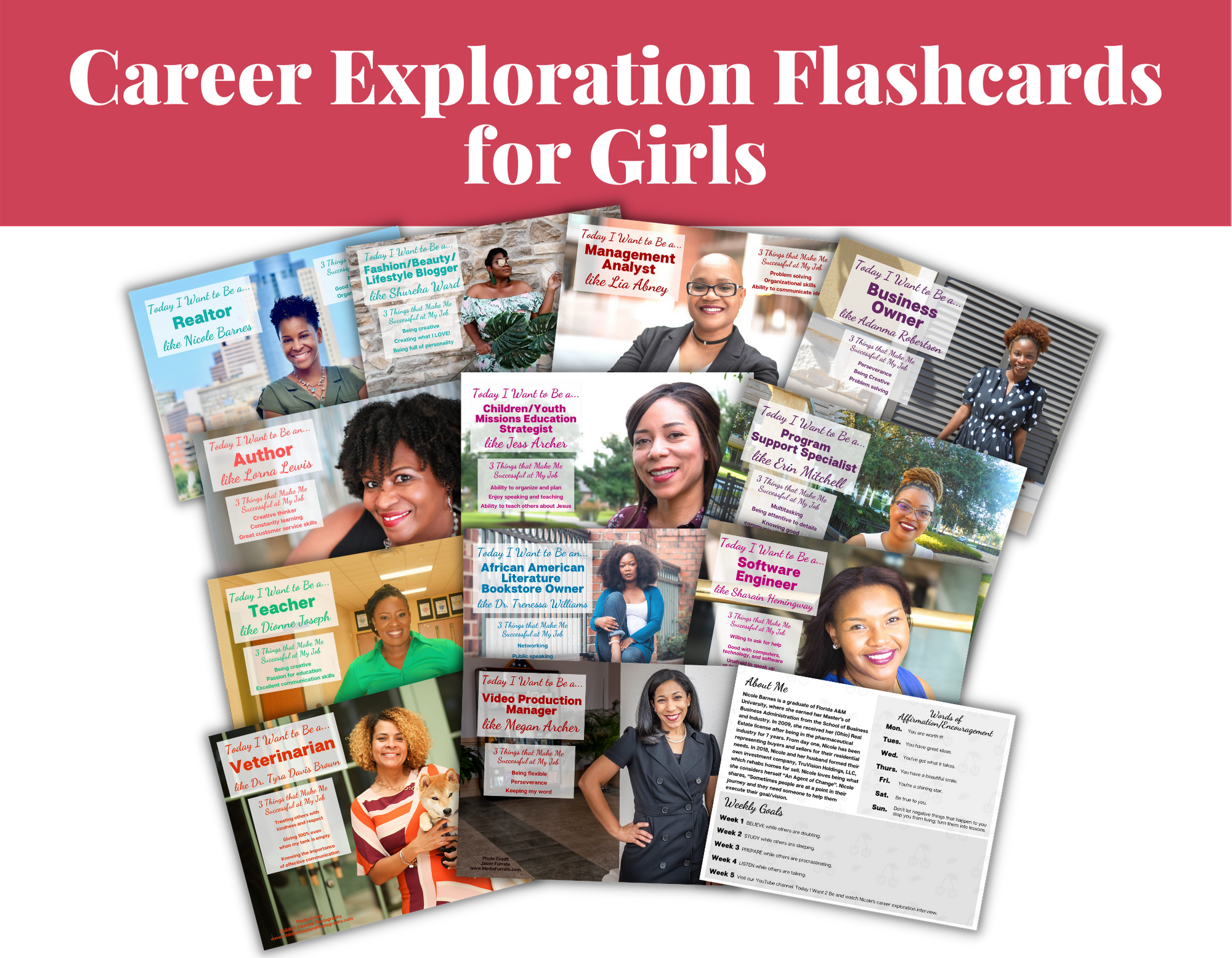 12 career exploration flash cards and resources of black african American women with their job titles