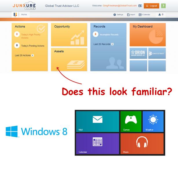 Junxure Cloud Home Screen - inspiration from Windows 8