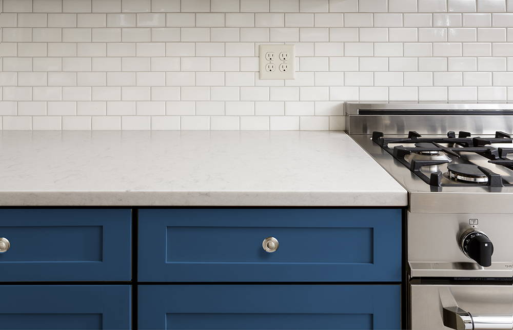 Blue Shaker style door in a traditional kitchen