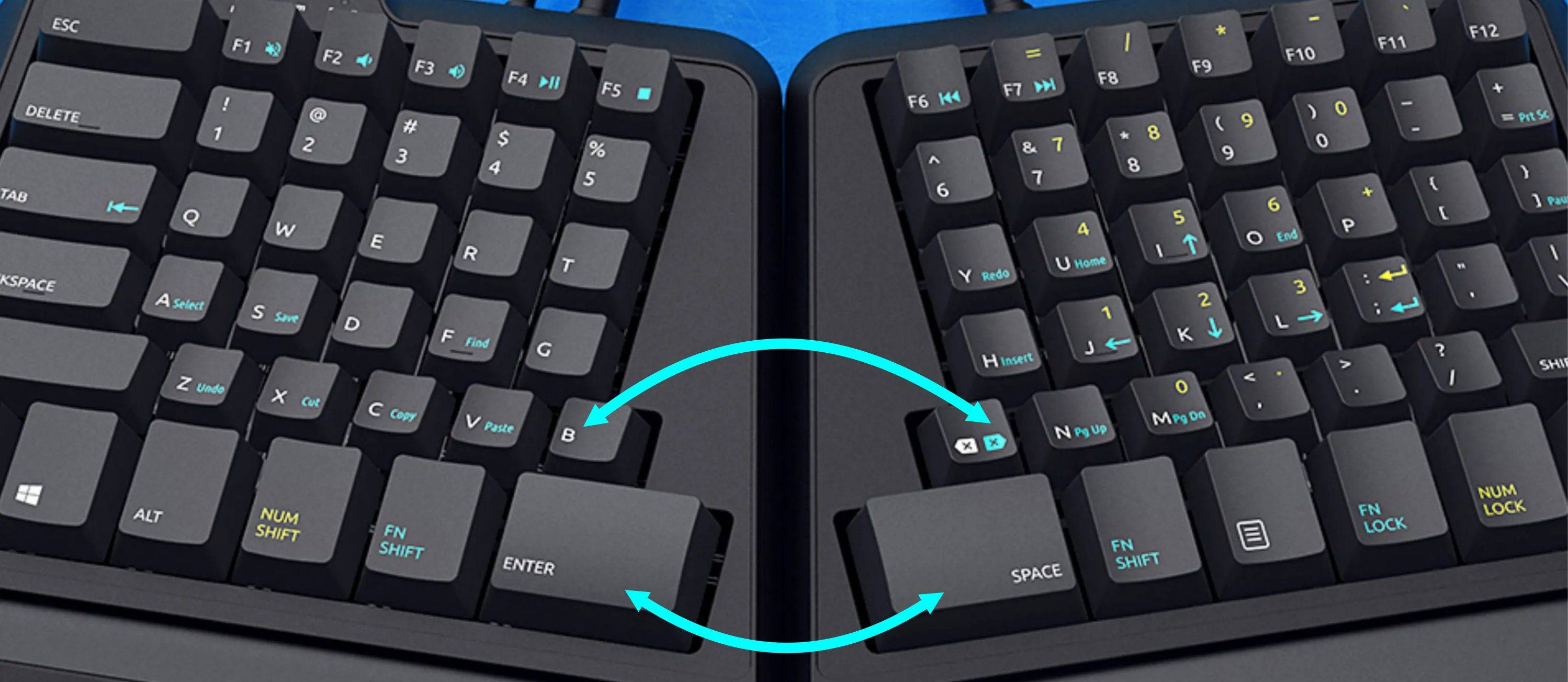 top split view of ergonomic keyboard