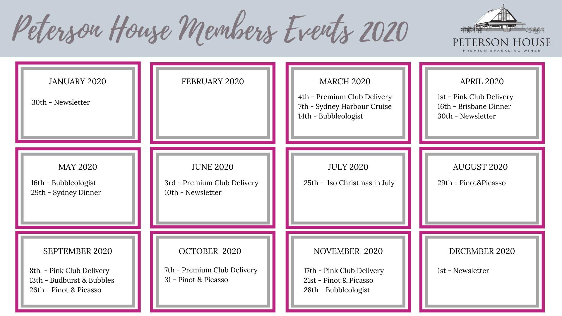 Peterson House Wine Club Members Events Calendar 2020