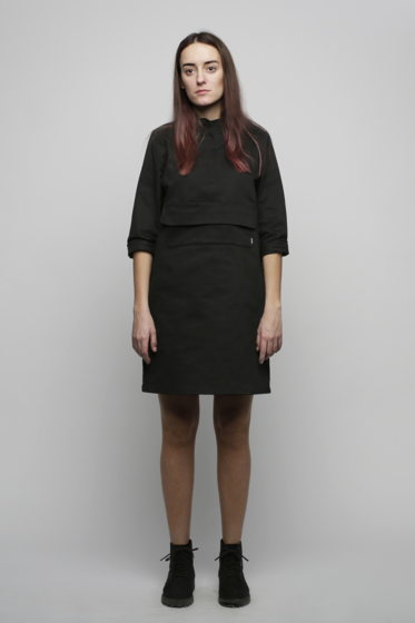 Чёрное платье с карманом
