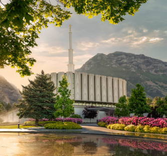 Provo Temple picture on a clear, summer day.