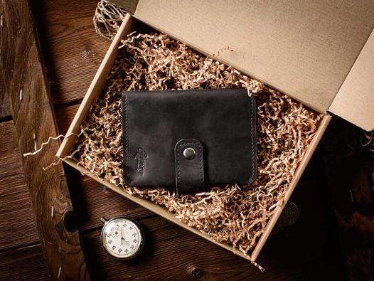 Обложка для автодокументов и паспорта кожаная -FORTUNA- цвет Черный Уоль