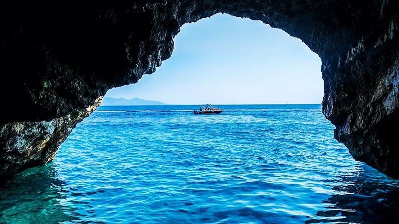 The blue cave at Zakynthos, Greece