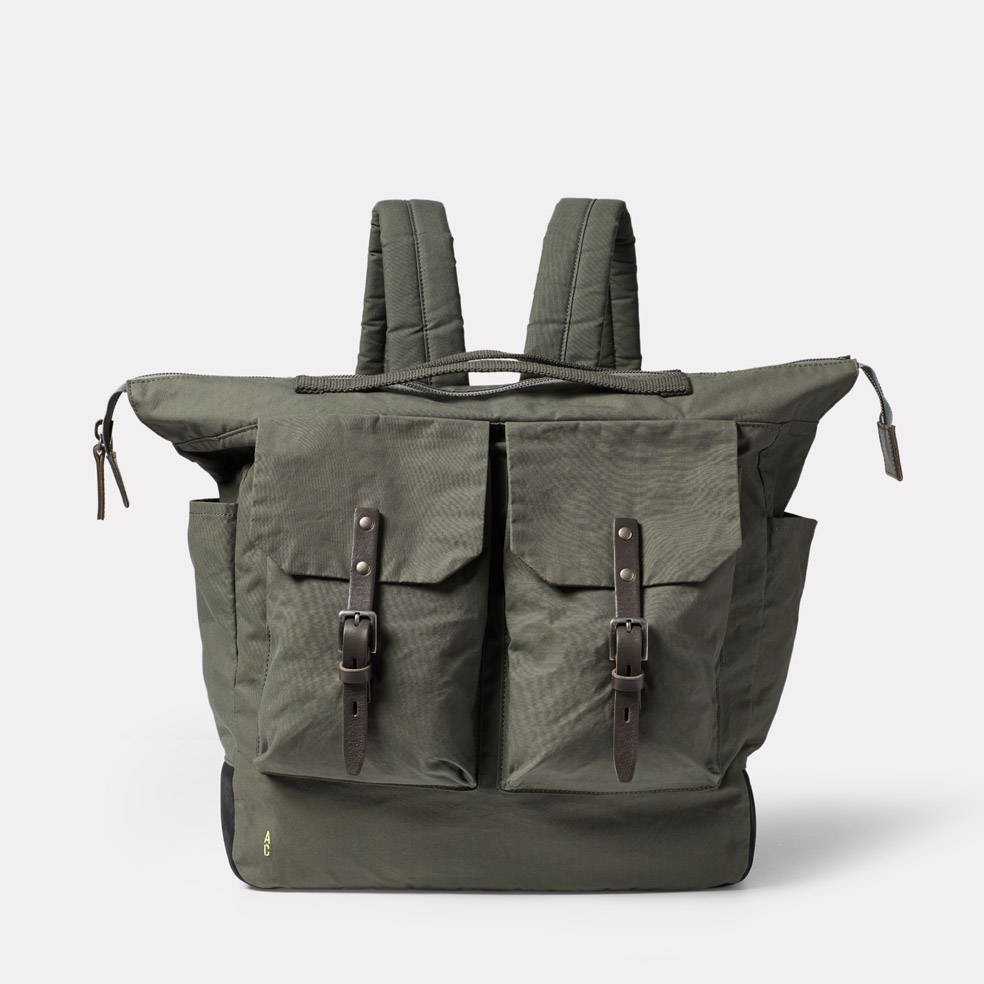 Ally Capellino Frank Large Waxed Cotton Backpack in Army Green
