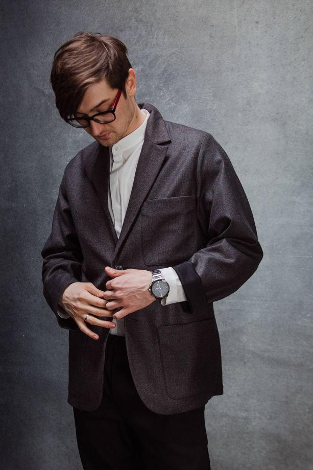 Пиджак графитовый меланж из тонкой шерсти