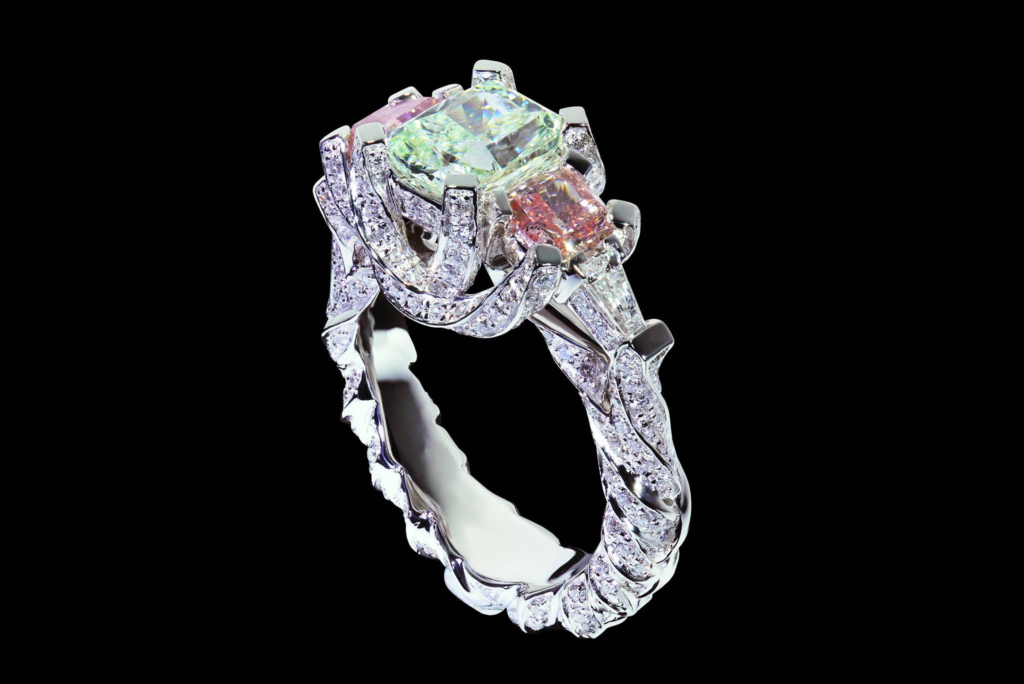 Braided Shank Diamond Ring 45 degrees view