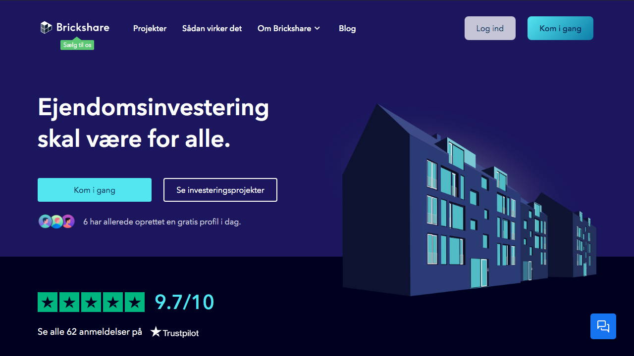 Skærmprint fra Brickshares hjemmeside, hvor man kan se deres vision: Ejendomsinvestering skal være for alle.