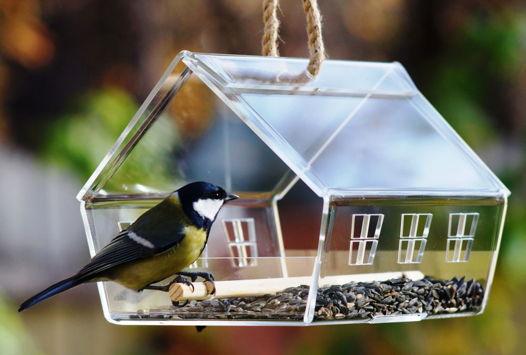 """Прозрачная кормушка домик для птиц """"Княжий"""""""