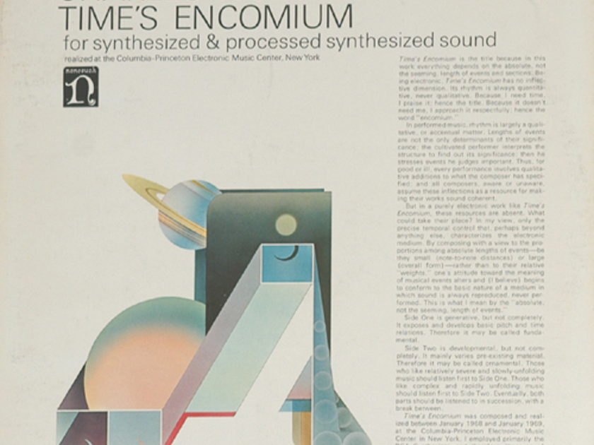 Charles Wuorinen Time's Encomium - For Synthesized & Processes Synth Nonesuch  NM