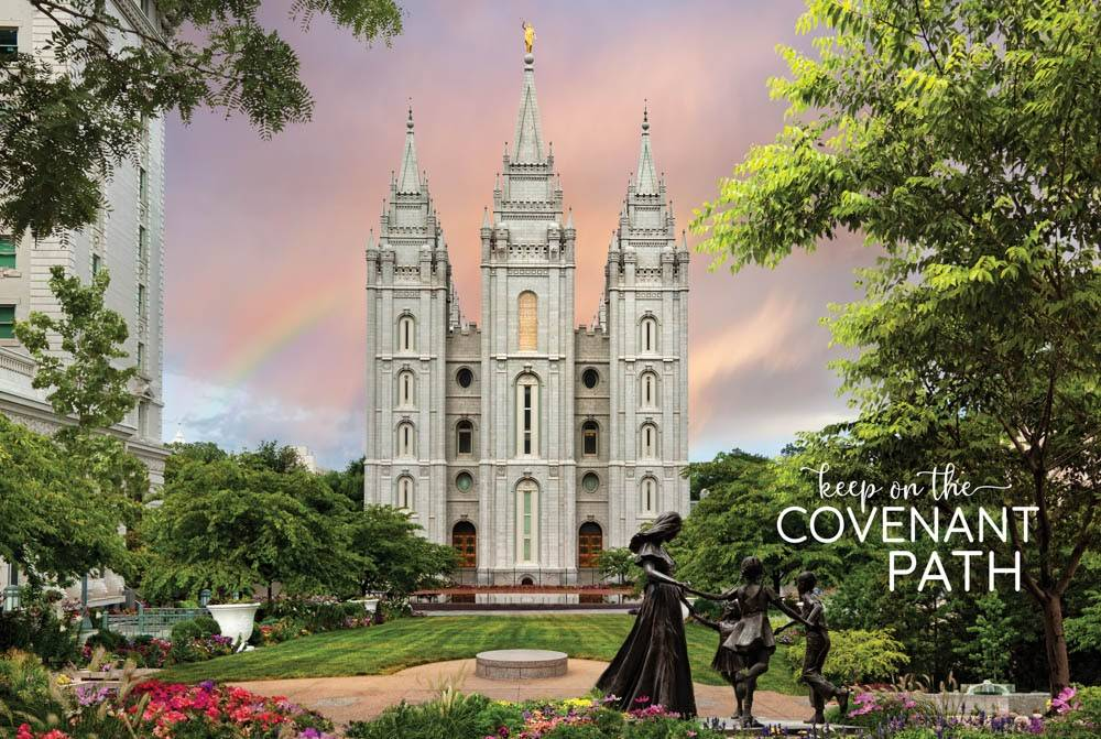 "LDS temple photo by Robert A. Boyd of  Salt Lake Temple and statue of a family. Text reads: ""Keep on the Covenant Path."""