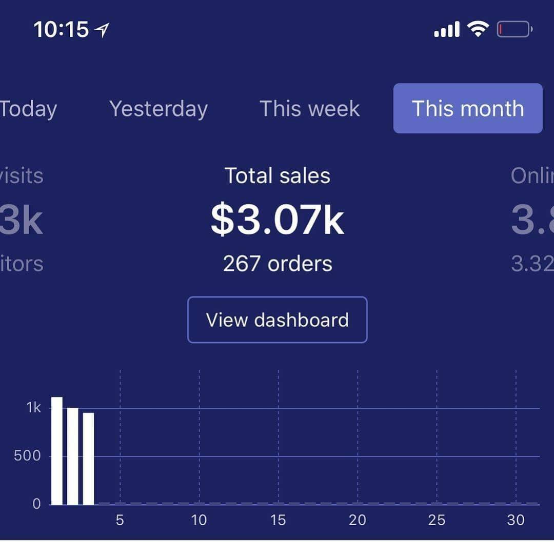 dropshipping monthly sales 10.61k