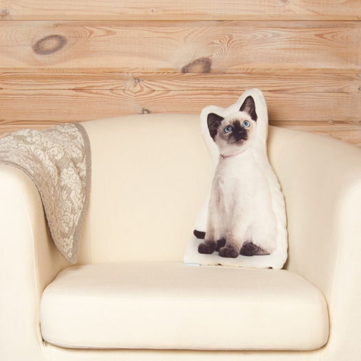 Подушка Сиамский котенок – льняная декоративная подушка в виде котёнока