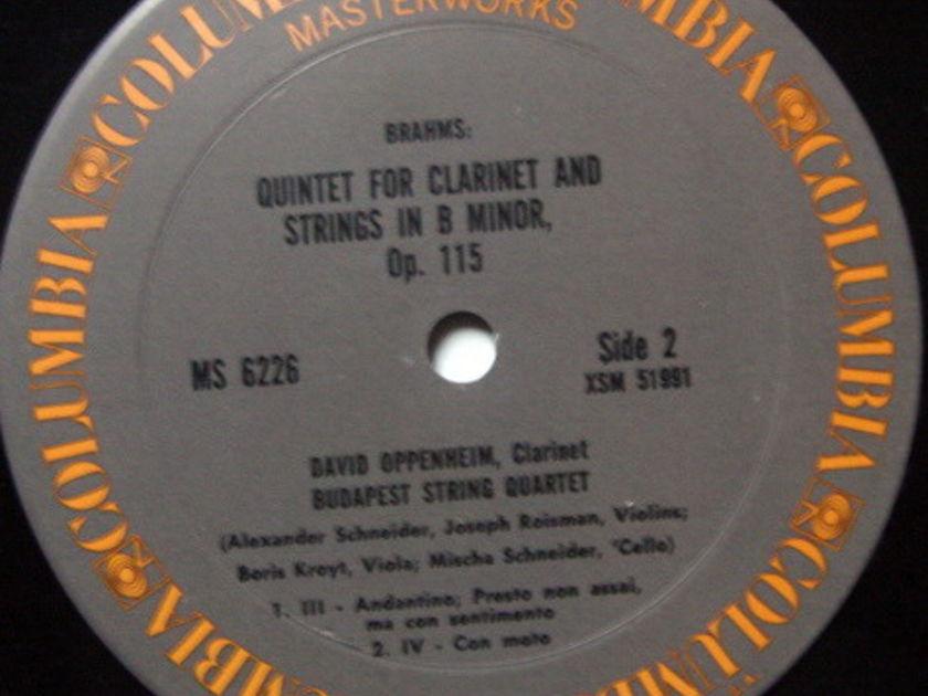 Columbia / BUDAPEST QT-OPPENHEIM, - Brahms Clarinet Quintets, MINT!