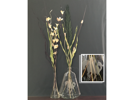 Etched Horses Glass Vases