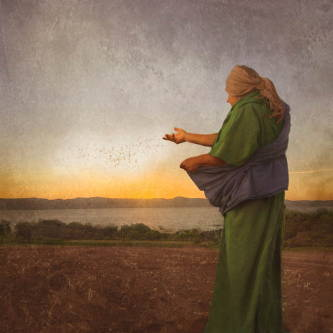 Image of a worker tossing out seeds from their bag onto a field.