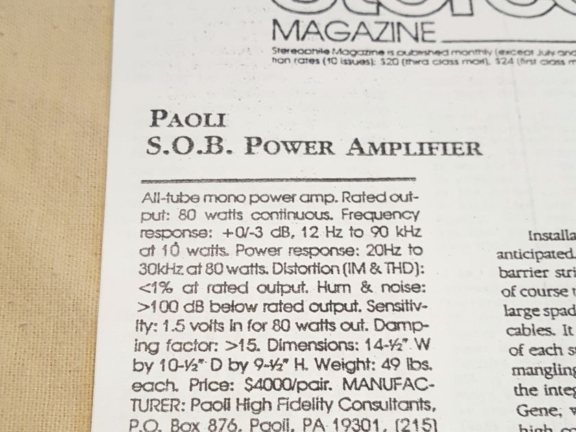 """PAOLI HIGH FIDELITY CONSULTANTS """"SOBS"""" SONS OF BEHEMOTH TUBE MONO AMPLIFIERS"""