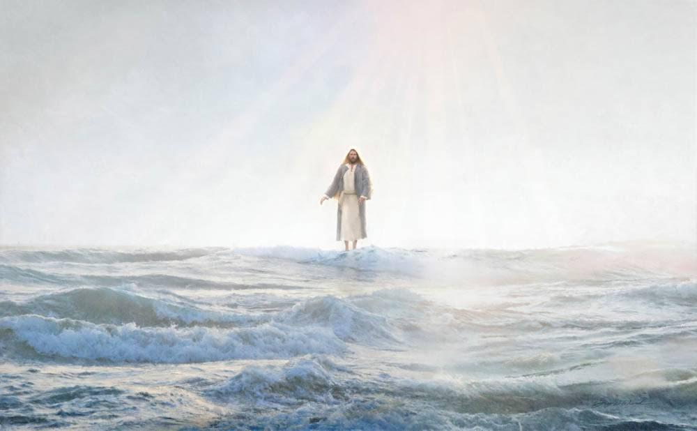 Jay Bryant Ward LDS art painting of Jesus walking on water.
