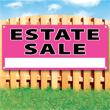 "Wood fence displaying a pink banner saying "" Estate Sale"