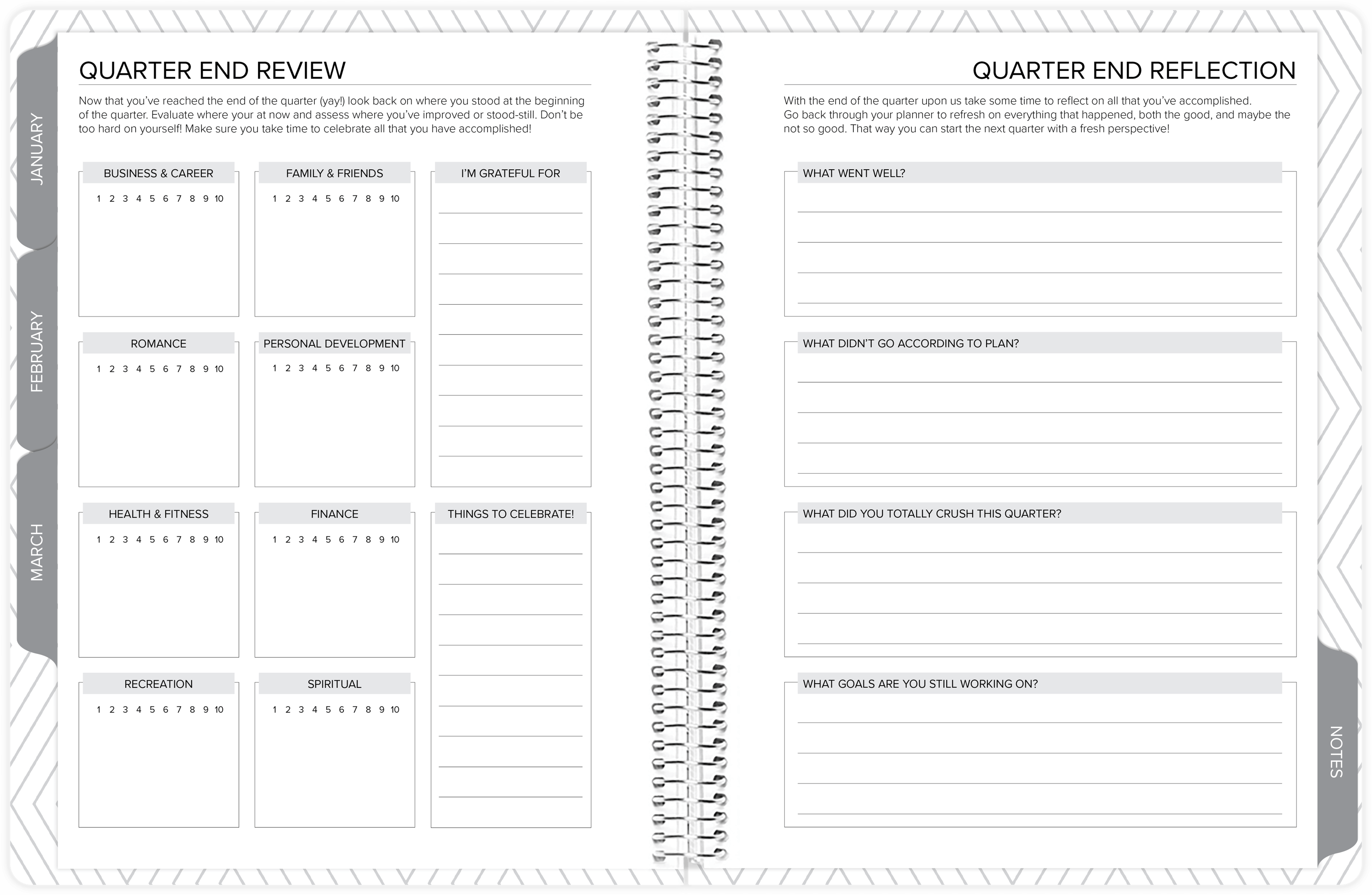 amplify planner quarterly goal review pages