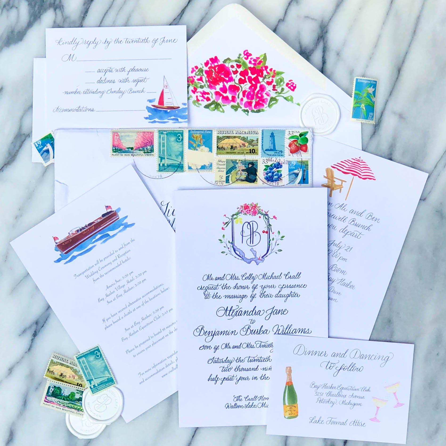 Watercolor wedding invitations-vintage stamps-wax seal