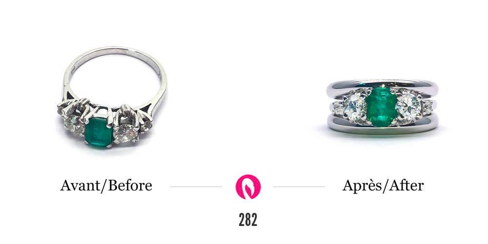 Transformation de bijoux broche avec diamant en un solitaire, des boucles d'oreilles et un pendentif, tous avec diamants