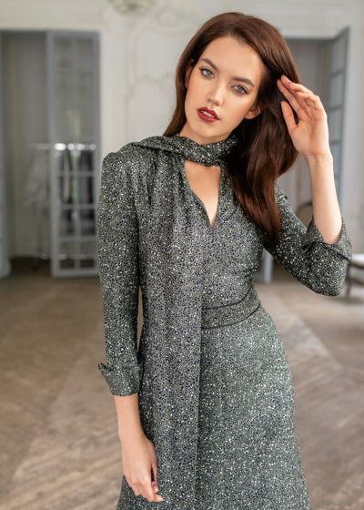 Платье-миди MurMur с воротником аскот