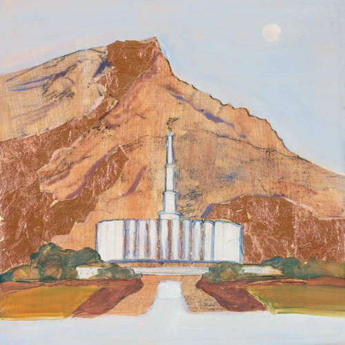Painting of the Provo Temple against the mountains.