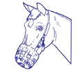 drawing of a horse with a muzzle