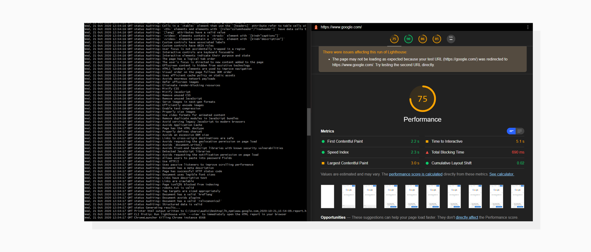 A screenshot with console output of Lighthouse Node Module and HTML file with results
