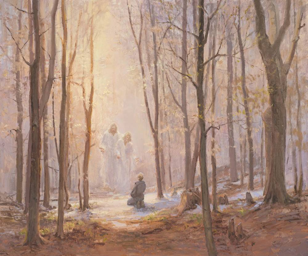 LDS art painting of Joseph Smith in the Sacred Grove. Heavenly Father and Jesus Christ appear to Him in the First Vision.