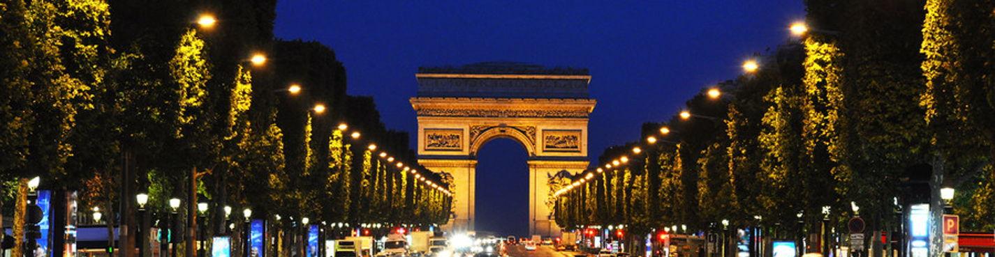 Вечерний Париж на автомобиле