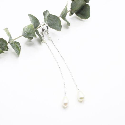 Длинные серебряные серьги с жемчугом