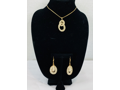 Gold Intertwined Circles Mesh/Crystal Necklace & Earrings