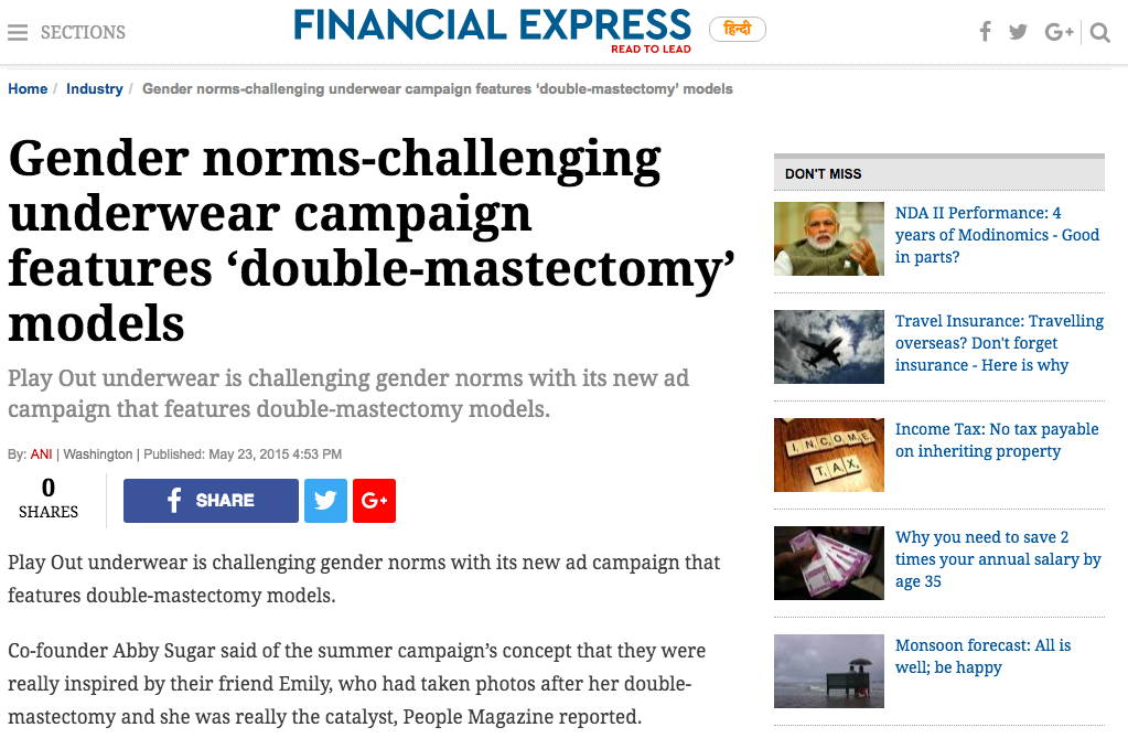 Financial Express - Gender norms-challenging underwear campaign features 'double-mastectomy' models
